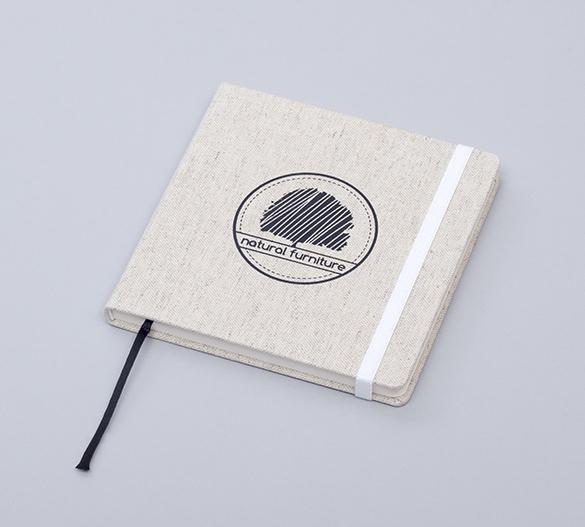 MN33 Mindnotes med hårdt omslag med tekstil Lino color, Lino nature